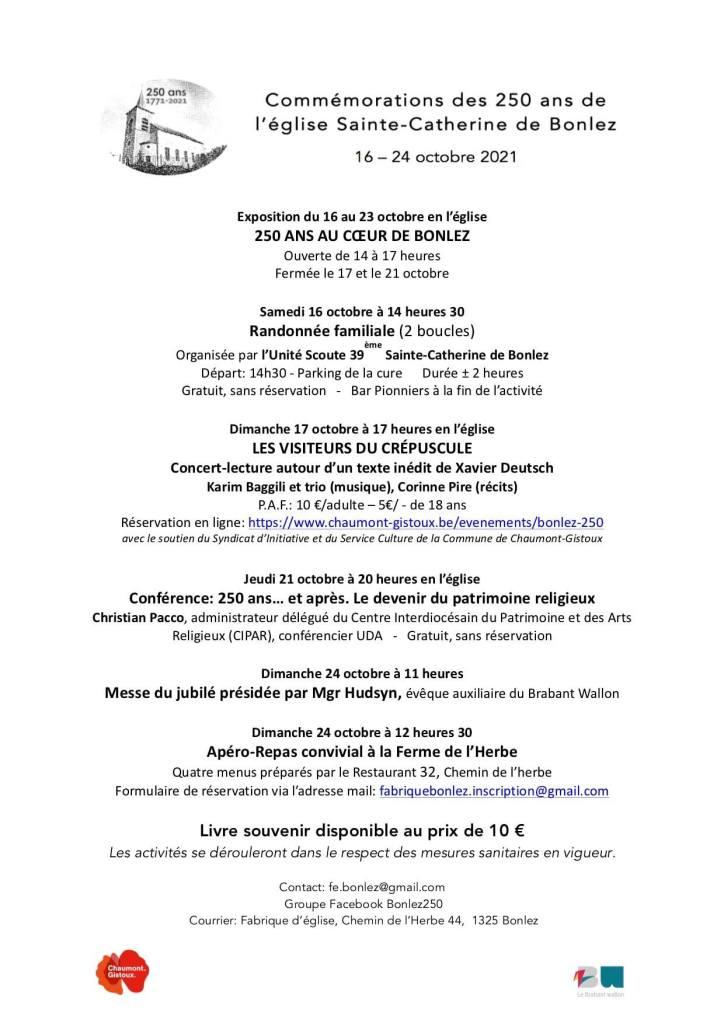 Programme des 250 ans de l'église de Bonlez